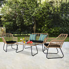 3Pcs /4 Pieces  Bistro Set Rattan Garden Patio Table and Chair Seating Furniture