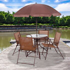 6PCS Garden Patio Furniture Set Outdoor Brown 4 Seater Large Round Table Parasol