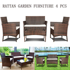 Rattan Outdoor Garden Furniture Set 4 Piece Chairs Sofa Table Patio Set Brown