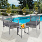 Outsunny 3PC Garden Furniture Set  sofa chair with Patio Coffee Table Outdoor