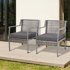 Outsunny 2Pc Rattan Dining Chairs Outdoor Patio Garden Conversation Furniture w/