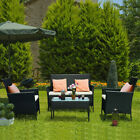 4 Seater Rattan Furniture Set Garden Office Patio Lounge Pool Coffee Table Chair